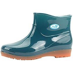 Botas Lluvia Mujer Bota de Agua Cortas de tacón bajo Goma Botas Aire Libre Zapatos Verde 38
