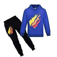 Prestonplayz Youtuber Boys Girls Hoodie + Pant Set Pullover Sweatshirts Hooded Tracksuit Preston Playz Sportsuits (Blue, 130)