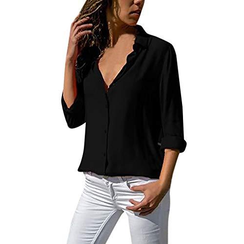 XuxMim Damen Chiffon Bluse V-Ausschnitt Henley Shirt Casual Langarm Oberteile XS-XXXL(Schwarz-2,Large) -