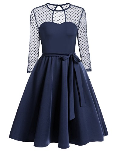 Zeagoo Damen Vintage 50er Jahr Rockabilly Kleid Swing Cocktailkleid Abendkleid Elegantes Kleid Blau L