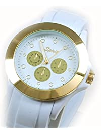 Spirit White & Gold Ladies Rubber Strap Sports Watch ASPL36