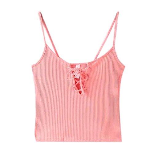 Sunnywill Frauen gestrickt Crop Tops Casual Baumwolle Tank-Tops für Mädchen Damen (S, Rosa)