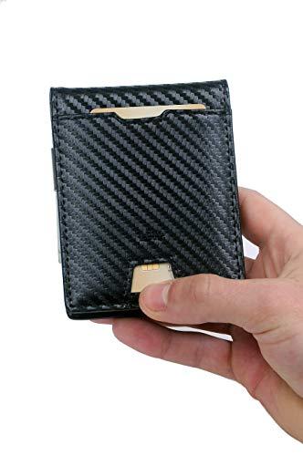 e7620c5fb5 Portafoglio LC12, Portafoglio Uomo Carbonio Blocco RFID con fermasoldi,  Piccolo Portafogli Di Design con
