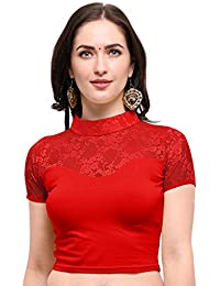 Janasya Women's Cotton Lycra Stretchable Readymade Blouse (BL041-65RED-A)