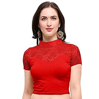 Janasya Women's Cotton Lycra Stretchable Readymade Blouse (BL041-65RED-A)