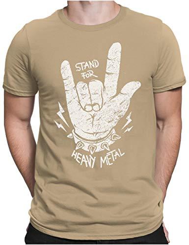 PAPAYANA - Stand for Heavy Metal - Herren Fun T-Shirt Bedruckt Music Band Punk Rock - Large - Khaki -