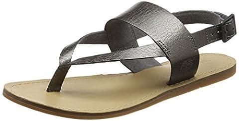 Timberland Carolista Ankle Thonggunmetal Metallic, Sandales Compensées Femme, Vert (Gunmetal