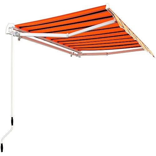 Aluminium Markise orange-schwarz - Sonnenschutz Kassettenmarkise Gelenkarmmarkise Sonnensegel