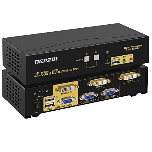 DEPZOL DVI + VGA KVM Switch Dual Monitor Erweiterter Display 2 Port mit Audio und USB 2.0 Hub, Dual View PC Monitor Tastatur Maus Auswahlbox für Computer und Laptops 822UD
