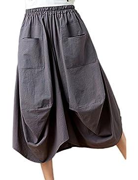 Zojuyozio Mujeres Ropa De Cama De Algodón Falda Faldas Asimétricas Suelto De Cintura Elastica