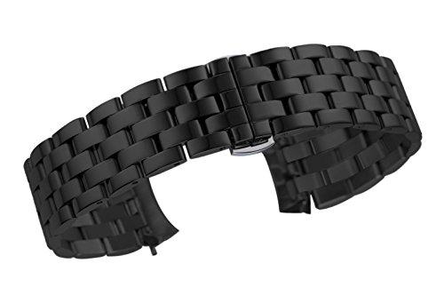 braccialetto largo cinturino intercambiabile 24mm degli uomini in nero...