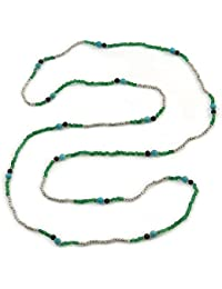 Extra Long Green/ Blue/ Black Glass, Silver Acrylic Bead Necklace - 160cm L