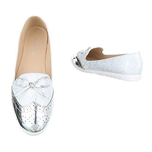 Ital-design Slipper Scarpe Da Donna Mocassini Mocassini Argento J112