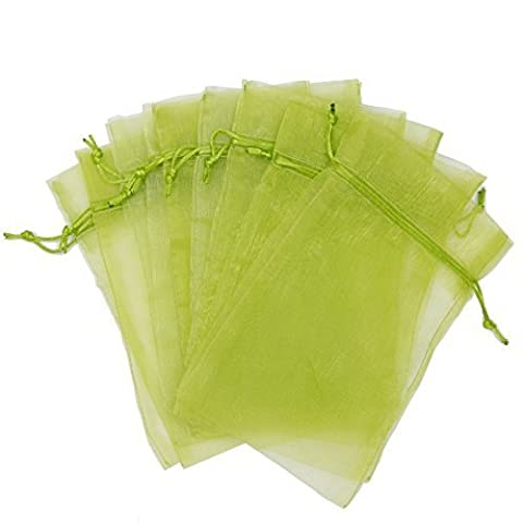 30 Designer Organza Fabric Gift Bags Pouches Party Gift Bags Green 5.5