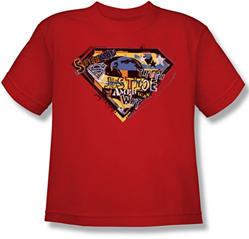 Superman - American Way Jugend T-Shirt in Rot, Medium, Red -