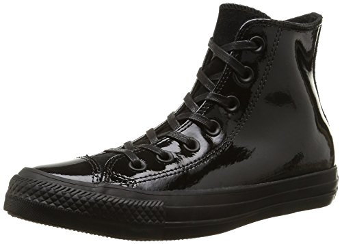 Converse All Star Hi Patent/Suede, Baskets Basses Femme, Noir Black