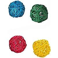 Ogquaton 4 PCS Coloré Perroquet Jouet À Mâcher Oiseau Naturel Rotin Ball Jouet pour Cockatiel Perruche Ara Gris Africain Cacatoès Couleur Aléatoire