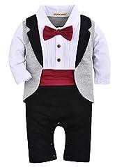 Idea Regalo - ZOEREA un-parti dei neonati pagliaccetto Tuxedo Outfit che coprono insieme con il Bowknot per nozze Battesimo Compleanno