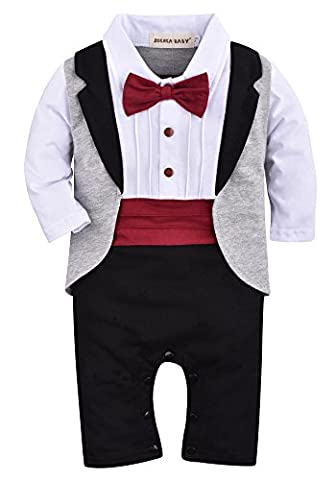 ZOEREA 1PC bébé-Boys Romper manches longues Suit Chemise blanche Combinaisons Gris Veste de smoking avec Red bowknot Cravate coton - Taille 90