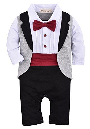 ZOEREA un-parti dei neonati pagliaccetto Tuxedo Outfit che coprono insieme con il Bowknot per nozze Battesimo Compleanno