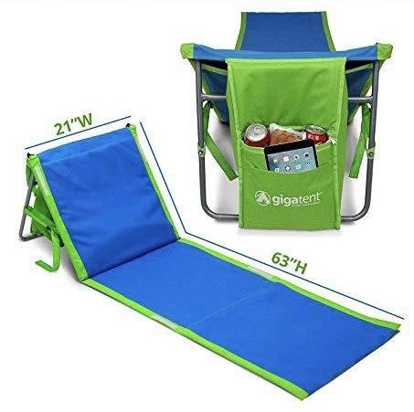 GigaTent tragbar Beach Lounge Stuhl, Matte mit Kühltasche und Aufbewahrungsfach-leicht, faltbar, komfortable Schultergurt-von blau (Faltbarer Stuhl-matte)