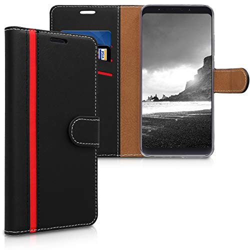 kwmobile Funda para Xiaomi Redmi Note 5 (Global Version) / Note 5 Pro - Carcasa de Cuero sintético - Case con Tapa y Tarjetero en Negro/Rojo