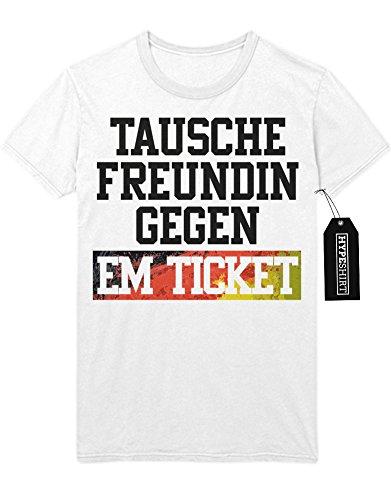 T-Shirt TAUSCHE FREUNDIN GEGEN EM TICKET Europa Meisterschaft Fußball M020239 Weiß M