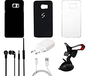 NIROSHA Cover Case Charger Headphone Mobile Holder for Samsung Galaxy Note 5 - Combo