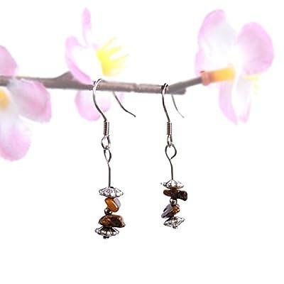 Boucles d'oreilles boheme Oeil de Tigre pierre naturelle fait main, bijou minimaliste ethnique feerique bijou nature romantique boho zen