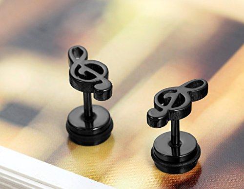 Flongo paire Boucles Oreilles Acier Inoxydable Clous Oreilles Symbole Musique Classique Charme Fantaisie Bijoux Cadeau Couleur Blanc Noir Or pour Femme Homme Noir