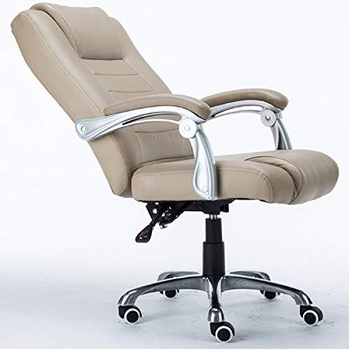 NSCHJZ Gepolsterte Computerstuhl, Chefsessel, Bürostuhl Schreibtischstuhl Ergonomisches Design Drehstuhl Hoch Rücken mit Ausziehbarem Fußraste Sitzfläche aus Kunstleder Wippmechanik, Khaki -