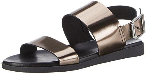 PIECES Damen Pslane Leather Sandal Gun Knöchelriemchen Grau (Gunmetal)