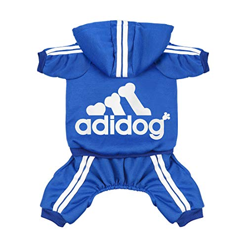Scheppend Super-Niedliche Adidog Sports Jacke für Haustiere, Kleidung, Hoodie aus Baumwolle, kleine, mittlere große Hunde, Pullover, Winter-Outfits für Welpen, weich warm T-Shirt Sweatshirt - Baby Thermal Hoodie