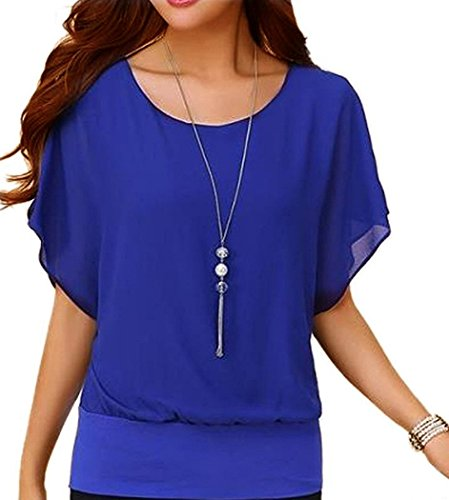 VIISHOW Damen Sommer Casual Loose Fit Kurzarm Batwing T-Shirt Chiffon Top Bluse(blau L)