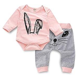 Ropa Bebé Niña Conjunto Niña Pantalon y Top Fiesta Bebé Niña Niños Mamelucos de Manga Larga de Conejo de impresión… 13