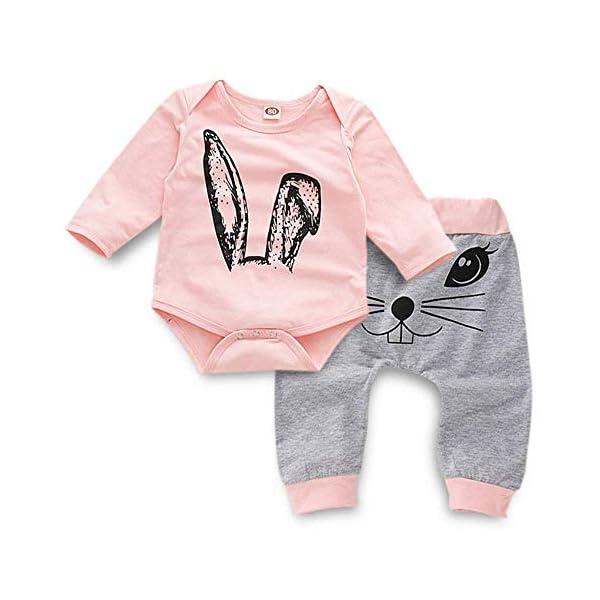 Ropa Bebé Niña Conjunto Niña Pantalon y Top Fiesta Bebé Niña Niños Mamelucos de Manga Larga de Conejo de impresión… 1
