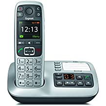 Gigaset E560A DECT Identificador de llamadas Negro, Plata - Teléfono (Teléfono DECT, Terminal inalámbrico, 55 min, 50 m, 300 m, HDSP)