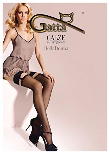Gatta Bella Donna 05 - elegante halterlose Strümpfe - Stay-Ups mit Schleifchen - Calze autoreggente - Größe 3-4 / M-L - Schwarz (Ups Stay Satin)