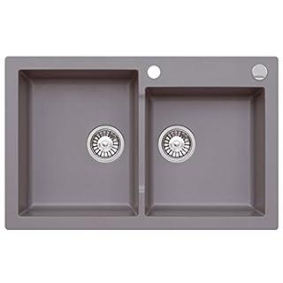 AXIS KITCHEN Axigranit Einbau Spüle Mojito 140 für 80er Doppelbecken Küchenspüle 79 x 50 cm Moonlight Grey