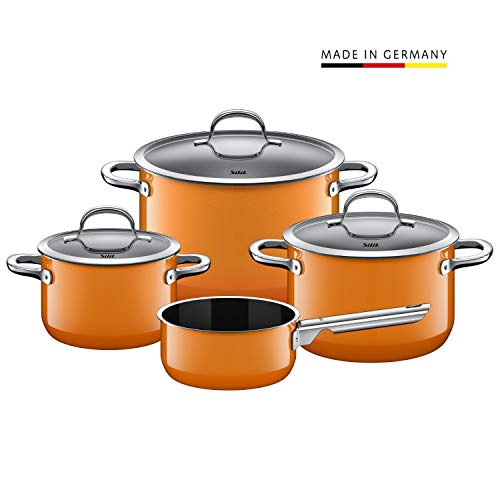 Silit Passion Orange Topfset 4-teilig, Töpfe mit Glasdeckel, Silargan Funktionskeramik, Induktionstöpfe, Topf Induktion, orange