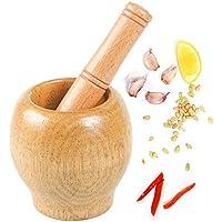 Manual de Madera Molinillo y Molinillo molienda Dewin Juego de mortero para mortero Jengibre para la Cocina Especias Juego de mortero ajo