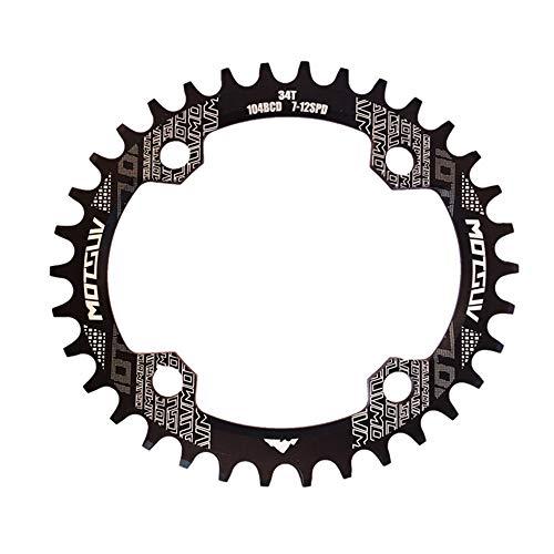 Fach Kurbelgarnitur 32T 34T 36T 38T Fahrrad rund / oval Kettenblatt 104BCD Kettenblatt schmales breites Kettenblatt für Rennrad, Mountainbike, BMX MTB Fahrrad ( Farbe : Schwarz , Größe : Oval 38T )