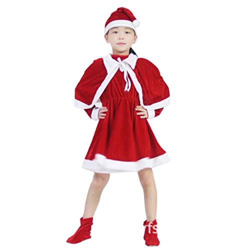 Kostüm Jester Girl's - DONGBALA Sankt-Klage, Mädchen Weihnachtskleid-Ausstattungs-Kinderfest-Tanz-Kleid Halloween Kostüm Für Partei Halloween Schule Spielen Karneval Cosplay Elk Weihnachts,B,170cm