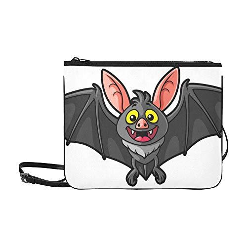 Night Terror Bat Animal Carton Pattern Benutzerdefinierte hochwertige Nylon Slim Clutch Cross Body Bag Schultertasche