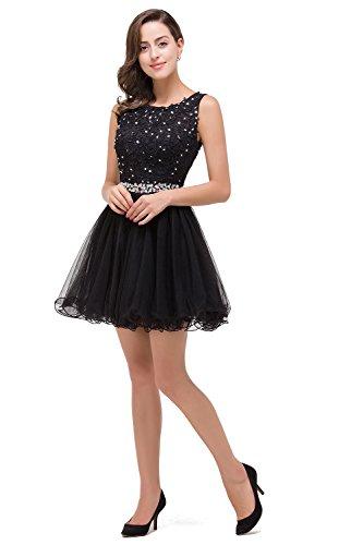 Damen Prinzessin Spitze Abiballkleid Abschlusskleid mit Schmucksteinen Knielang Schwarz Gr.40