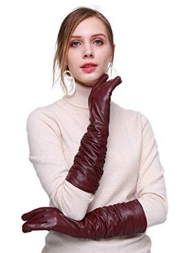 YISEVEN Damen Touchscreen Lang Lederhandschuhe Faltig Lammfelll mit Warm Gefüttert Elegant Winter Leder Autofahrer Handschuhe, Weinrot XXXL/9.0