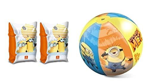 2 Teile Bade – Urlaub - Set - Minions Despicable me - Schwimmflügel und Wasserbal / Beachball / Strandball- aufblasbar - - Schwimmärmel & Schwimmhilfe - passend für 3 bis 6 Jahre Mädchen & Jungen