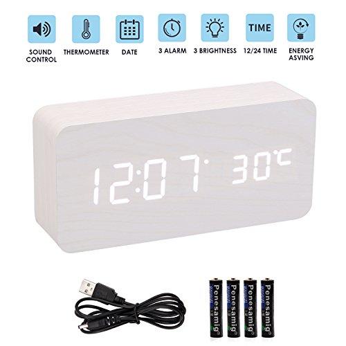 bedee LED Digital Wecker, Modern Holz Tischuhr Einstellbare Helligkeit Wecker Reisewecker Tischuhren mit Uhrzeit/Datum/Woche/Temperatur Anzeige