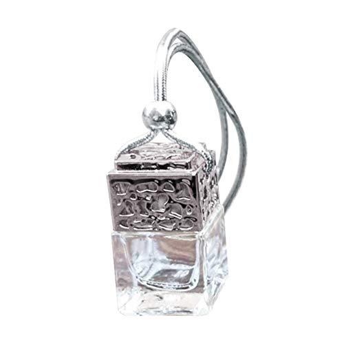 P12cheng, Bottiglia di Vetro da Appendere per Profumo, Olio Essenziale, Bottiglia di Vetro Vuota, Ornamento da Appendere in Auto, Vetro, Argento
