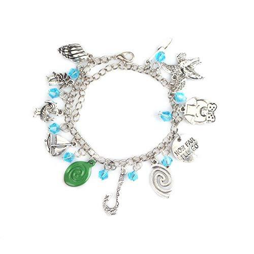 Hzzzzz Moana Charm Bracelet Fish Hook Sailboat Logo Letter How far I'll go Pendants Hand Chain